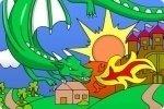 Coloriage de dragon et de château